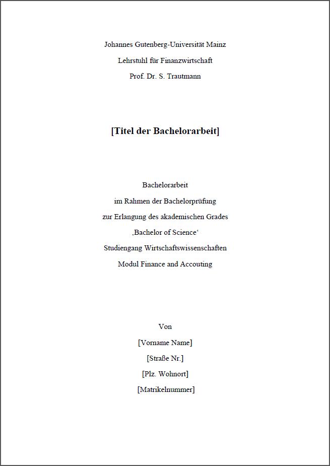 Ein Beispiel Fur Das Deckblatt Der Bachelorarbeit Wiwi Uni Mainz 4